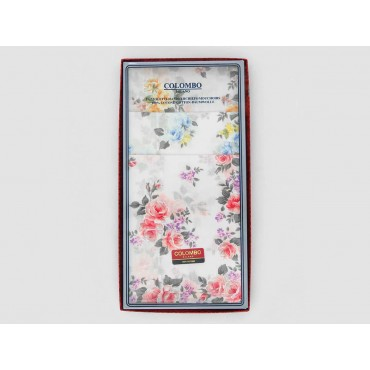 Front box - Giulia - handkerchiefs with rose prints on an ivory background