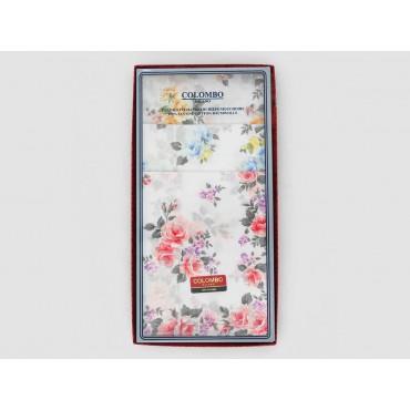 Scatola frontale - Giulia - fazzoletti di cotone da donna con stampe di rose su fondo avorio