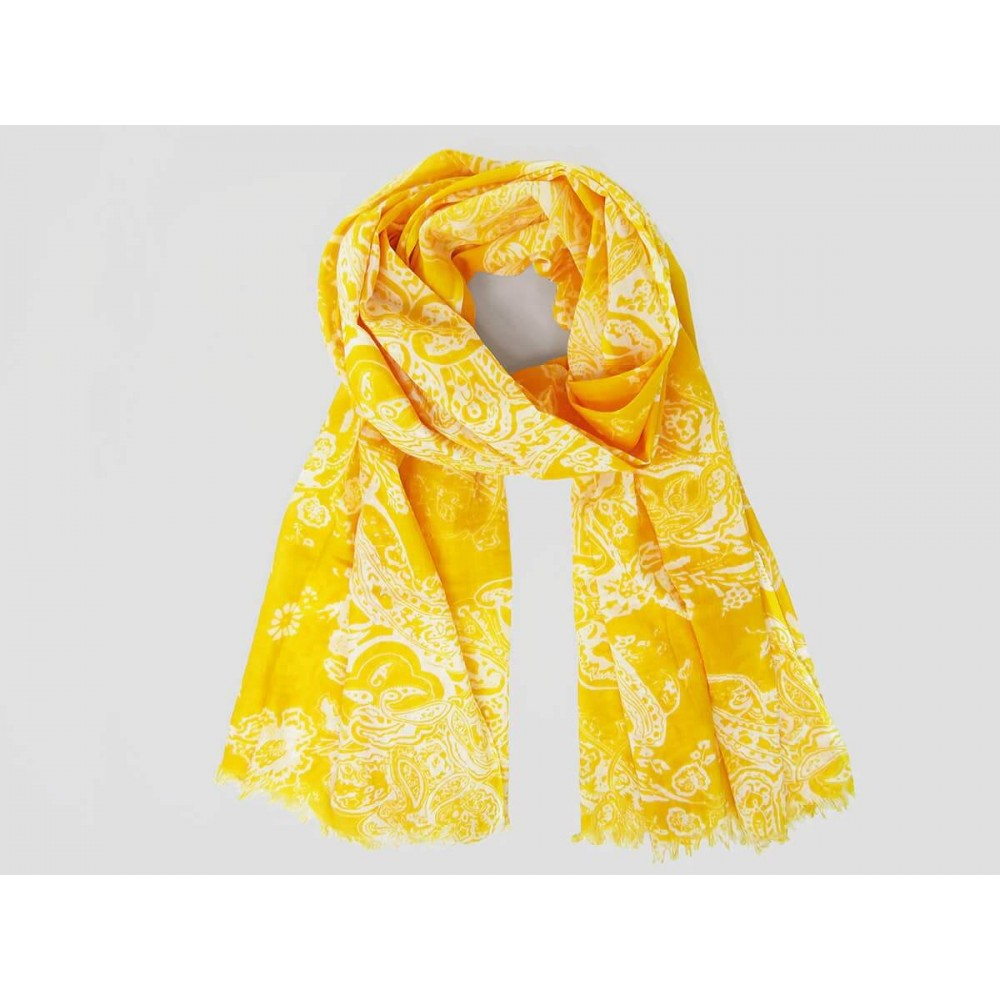 Wide mandarin-colored cotton scarf with cashmere design