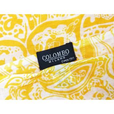 Etichetta - Sciarpe primaverili estive - sciarpa pareo di cotone gialla con motivi cachemire