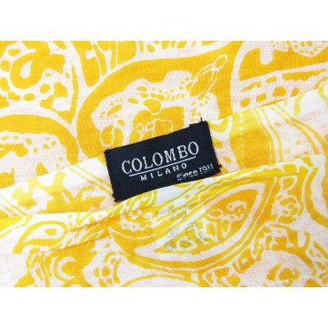 Wide mandarin-colored cotton scarf with cashmere design - label