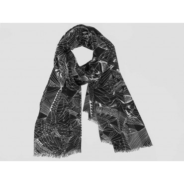 Wide scarf with abstract motifs white on black - 100% cotton