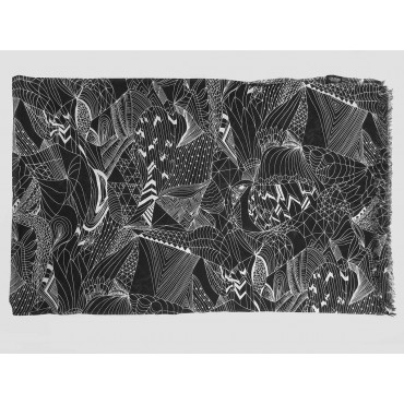 Wide scarf with abstract motifs white on black - 100% cotton open