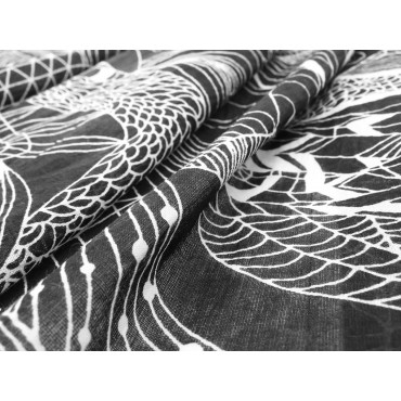 Wide scarf with abstract motifs white on black - 100% cotton detail