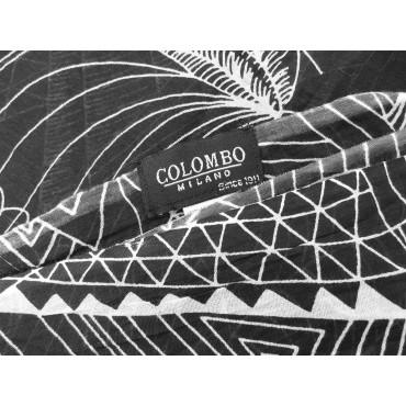 Etichetta - Sciarpe primaverili estive - sciarpa pareo di cotone con motivi astratti bianco su nero