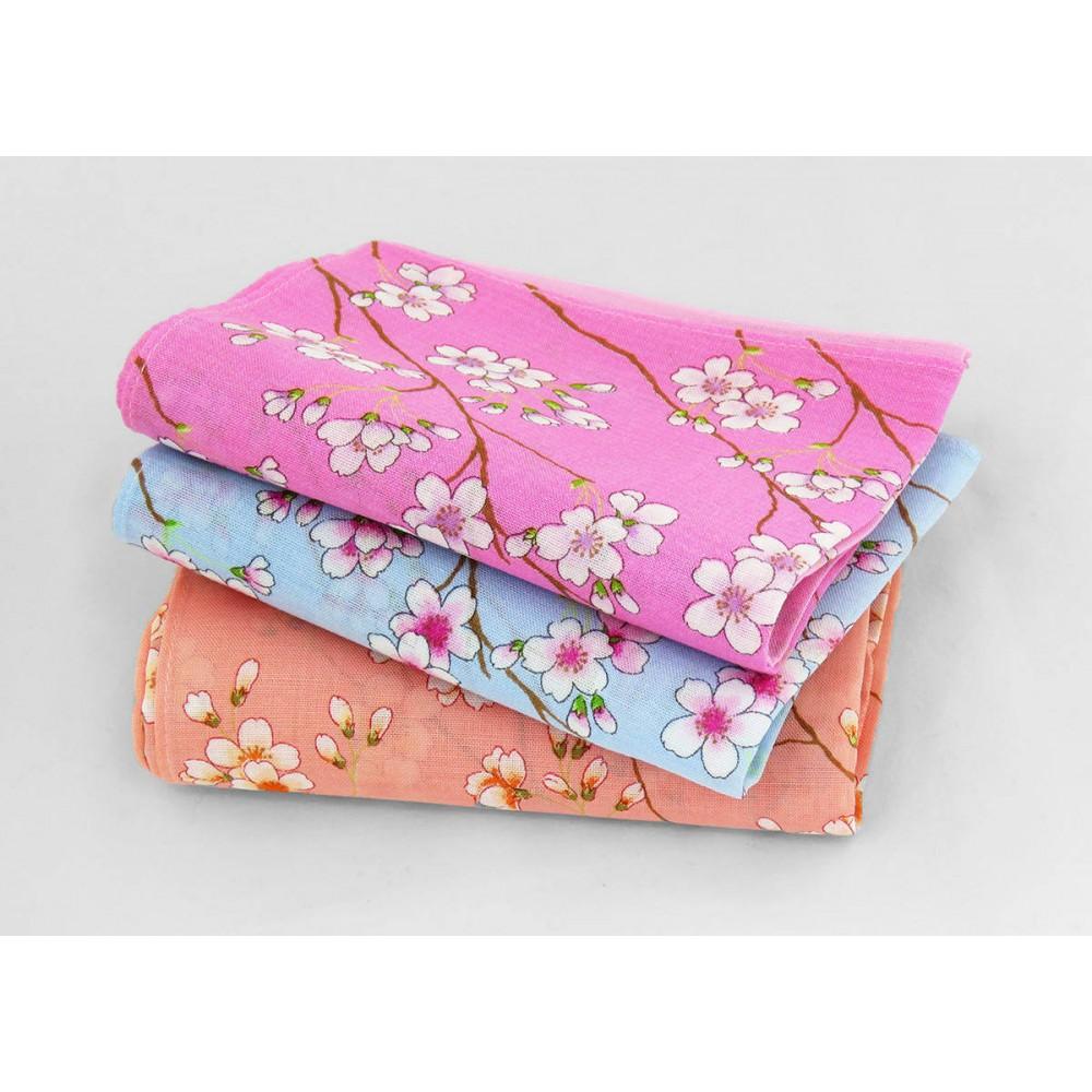 Varianti - Giulia - fazzoletti di cotone da donna colorati con stampe di fiori di pesco