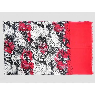 Piegata - Sciarpe primaverili estive - sciarpa pareo di cotone con stampa di farfalle