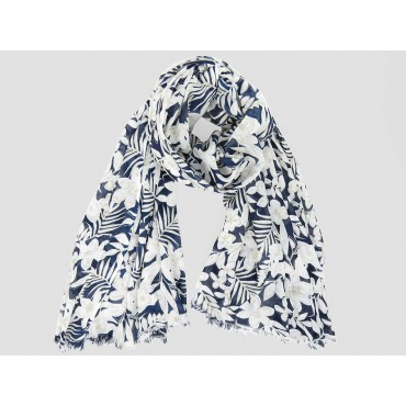 Wide scarf with light flowers on blue background - 100% cotton