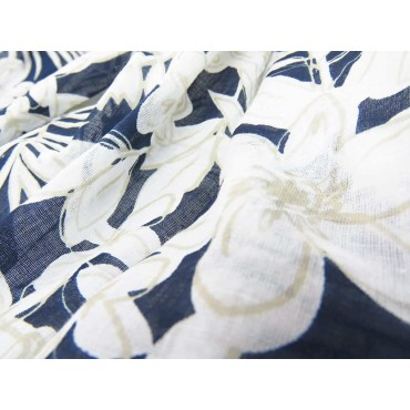 Wide scarf with light flowers on blue background - 100% cotton detail
