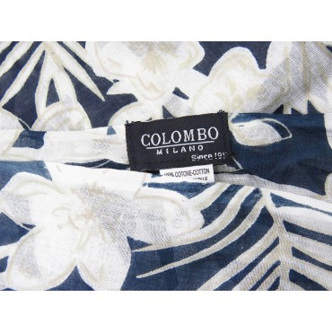 Wide scarf with light flowers on blue background - 100% cotton label