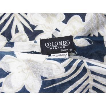 Etichetta - Sciarpe primaverili estive - sciarpa pareo di cotone con fiori chiari su fondo blu