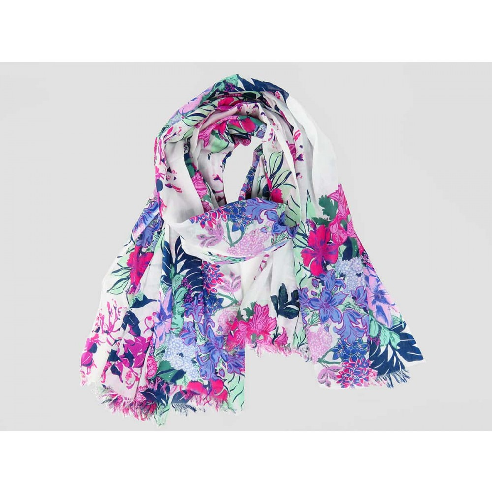 Wide pink flowers scarf on white background - 100% cotton