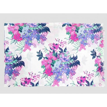 Wide pink flowers scarf on white background - 100% cotton open