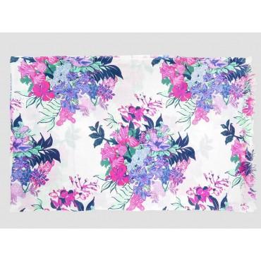 Piegata - Sciarpe primaverili estive - sciarpa pareo di cotone con fiori rosa e lilla