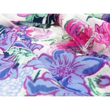 Wide pink flowers scarf on white background - 100% cotton detail