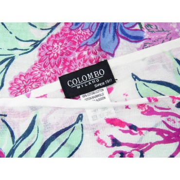 Wide pink flowers scarf on white background - 100% cotton label