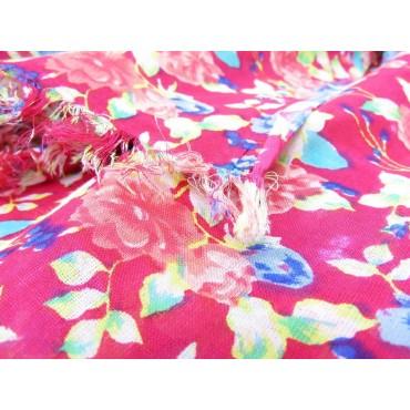 Dettaglio - Sciarpe primaverili estive - sciarpa pareo di cotone fucsia floreale