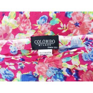 Etichetta - Sciarpe primaverili estive - sciarpa pareo di cotone fucsia floreale