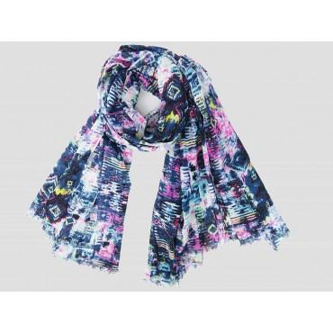 Modello - Sciarpe primaverili estive - sciarpa pareo di cotone colorata con stampa astratta