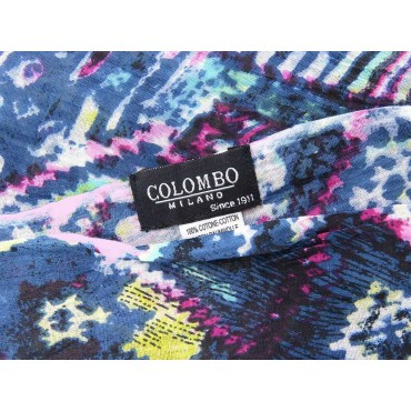 Wide abstract print scarf - 100% cotton label