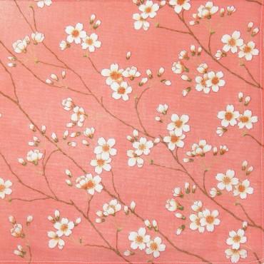 Variante arancio - Giulia - fazzoletti di cotone da donna colorati con stampe di fiori di pesco
