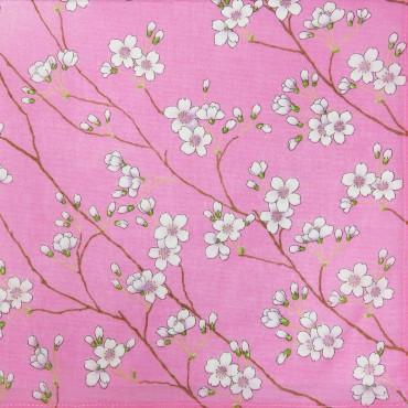 Variante rosa - Giulia - fazzoletti di cotone da donna colorati con stampe di fiori di pesco