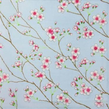 Variante cielo  - Giulia - fazzoletti di cotone da donna colorati con stampe di fiori di pesco