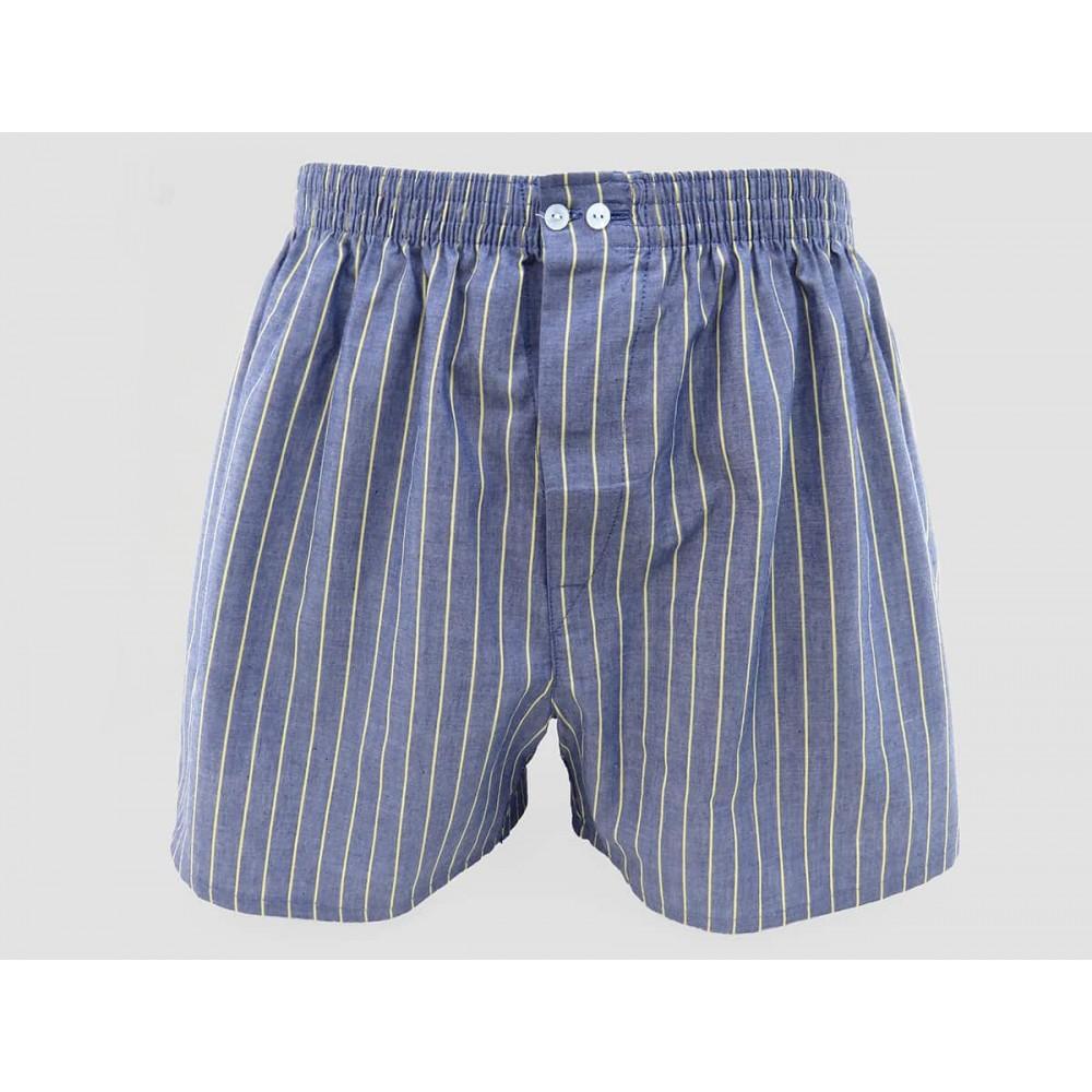 Model - Kent - Men's blue cotton boxer shorts with yellow stripes