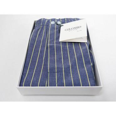 Scatola aperta - Kent - Boxer da uomo in cotone blu con righe gialle
