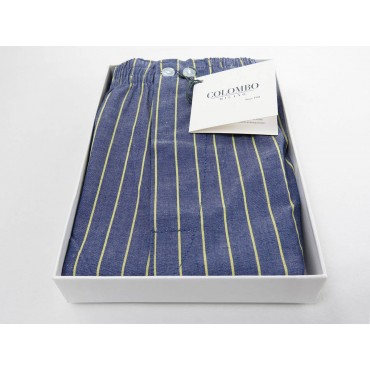 Open box - Kent - Boxer for men in blue cotton with yellow lines
