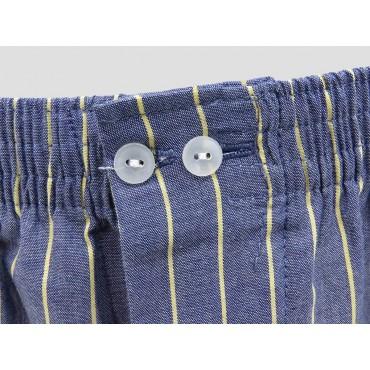 Dettaglio - Kent -  Boxer da uomo in cotone blu con righe gialle