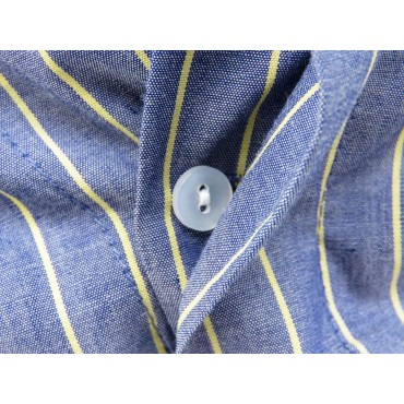 Dettaglio bottoni - Kent - Boxer da uomo in cotone blu con righe gialle