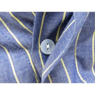 Button detail - Kent - Men's blue cotton boxer shorts with yellow stripes