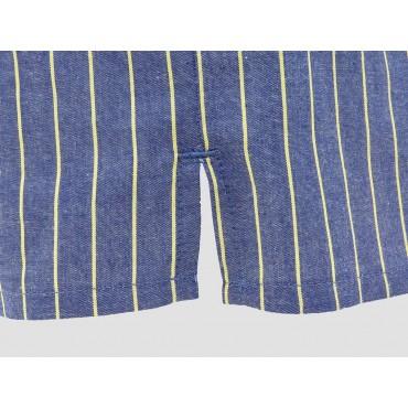 Dettaglio spacco - Kent - Boxer da uomo in cotone blu con righe gialle
