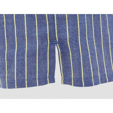 Slit detail - Kent - Men's blue cotton boxer with yellow stripes