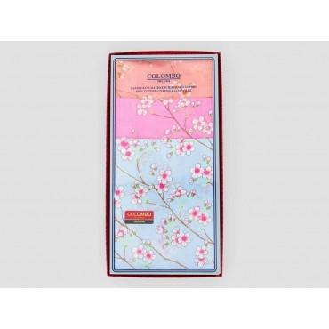 Scatola frontale - Giulia - fazzoletti di cotone da donna colorati con stampe di fiori di pesco