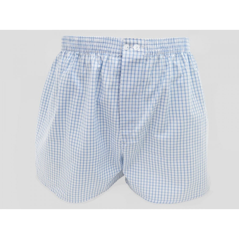 Model - Kent - Men's boxer shorts in light blue checked cotton