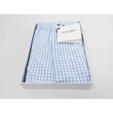 Open box - Kent - Men's boxer shorts in light blue checked cotton