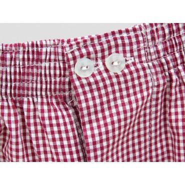 Detail - Kent - Men's red checkered cotton boxer shorts