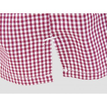 Slit detail - Kent - Men's boxer in red check cotton
