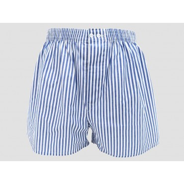 Model - Kent - Men's boxer shorts in white and blue striped cotton