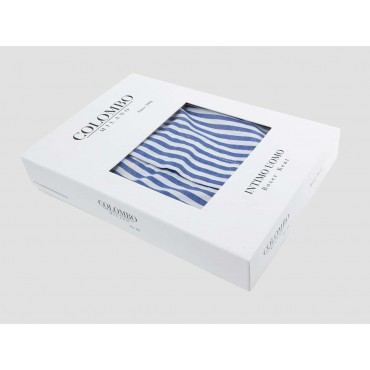 Side box - Kent - Men's boxer shorts in white and blue striped cotton