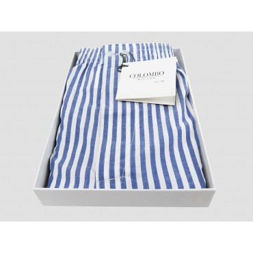 Open box - Kent - Men's boxer shorts in white and blue striped cotton