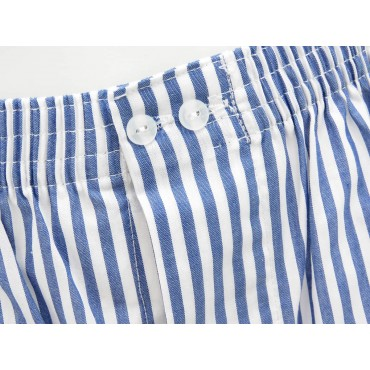 Detail - Kent - Men's boxer shorts in white and blue striped cotton