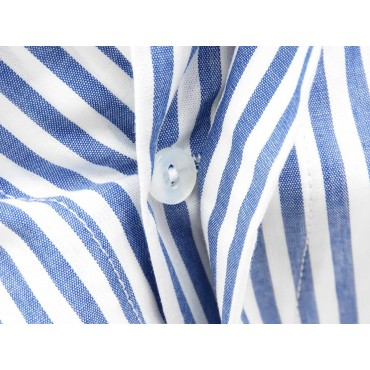 Button detail - Kent - Men's boxer shorts in white and blue striped cotton