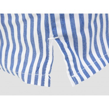 Slit detail - Kent - Men's boxer shorts in white and blue striped cotton
