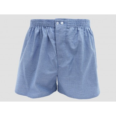 Model - Kent - Men's blue cotton boxer shorts with white squares
