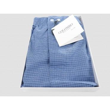 Scatola aperta - Kent - Boxer da uomo in cotone blu con quadretti bianchi