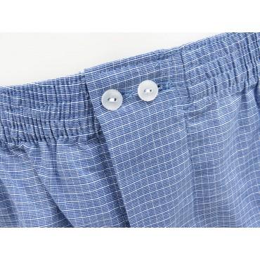Dettaglio - Kent - Boxer da uomo in cotone blu con quadretti bianchi