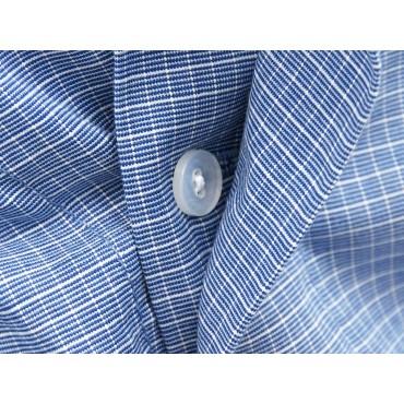 Dettaglio bottoni - Kent - Boxer da uomo in cotone blu con quadretti bianchi